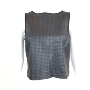 Banana Republic Perforated Black Faux Leather Top